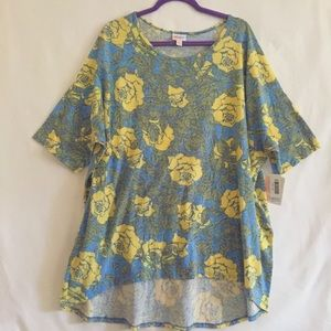 "LuLaRoe NWT Yellow & Blue Floral ""Irma"" Tunic 3XL"